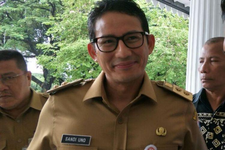 Wakil Gubernur DKI Jakarta Sandiaga Uno di Balai Kota DKI Jakarta, Senin (26/2/2018).