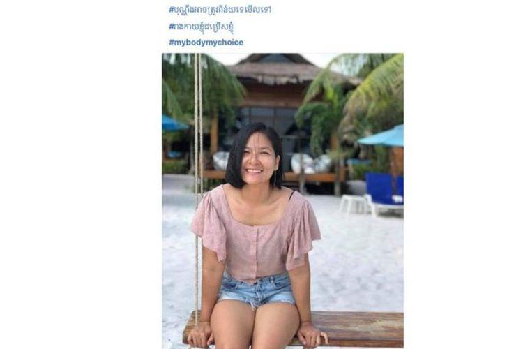 Banyak perempuan di Kamboja telah mengunggah foto diri mereka mengenakan pakaian renang atau celana pendek untuk meningkatkan kesadaran.