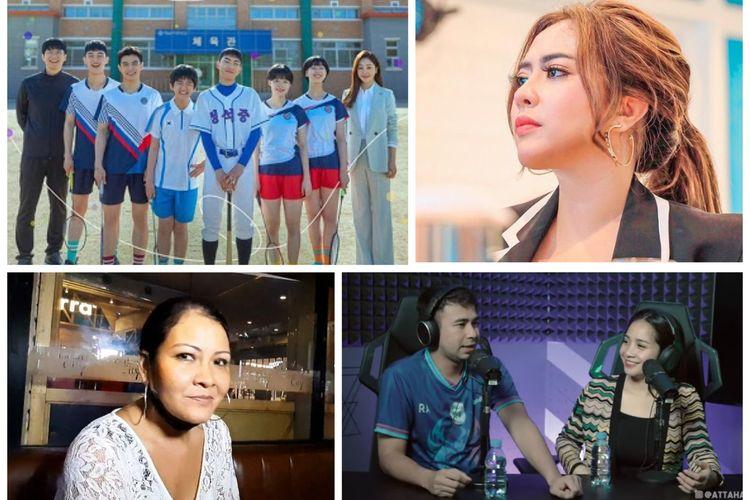 Kolase foto drama Korea Racket Boys, Maharani Kemala, Melanie Subono, Raffi Ahmad dan Nagita Slavina