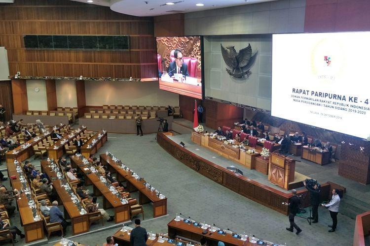 Rapat Paripurna DPR di Kompleks Parlemen, Senayan, Jakarta, Selasa (29/10/2019).
