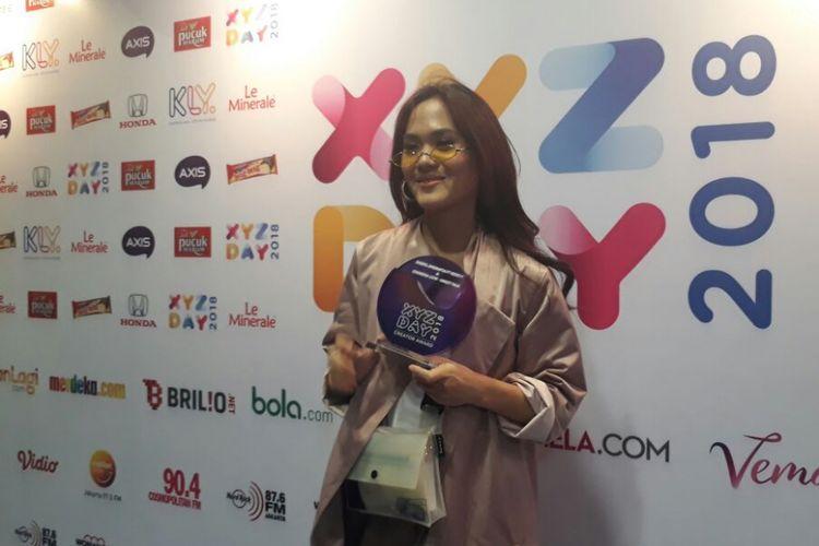 Sheryl Sheinafia ditemui sesudah mengisi sebuah acara di Senayan City, Jakarta Pusat, Rabu (25/4/2018).