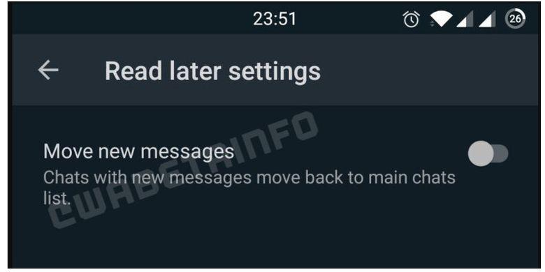 WhatsApp tengah mengujicoba fitur Read Later
