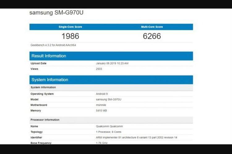 Hasil benchmark Galaxy S10 Lite