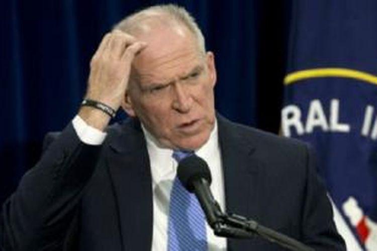 John Brennan menggelar konferensi pers di markas CIA di Virginia, yang jarang dilakukan.