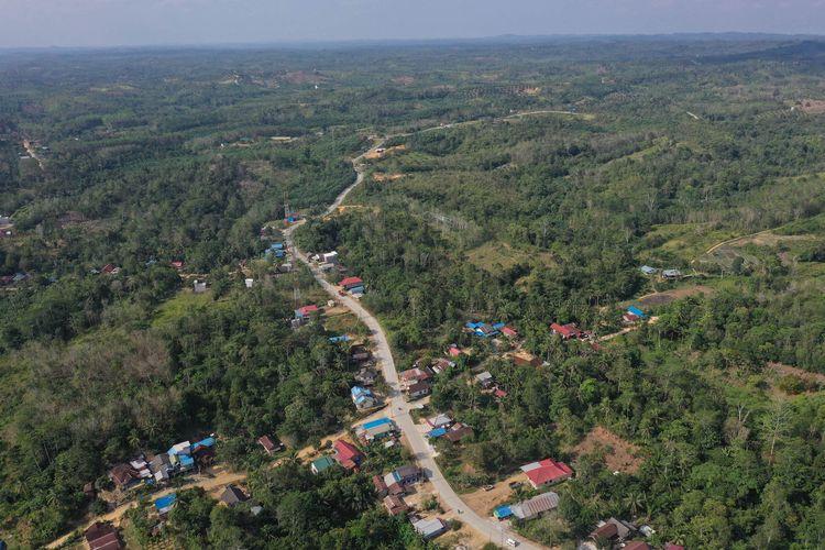 Foto aerial kawasan ibu kota negara baru di Kecamatan Sepaku, Penajam Paser Utara, Kalimantan Timur