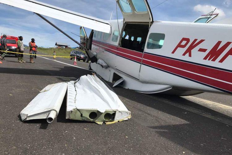 Pesawat jenis MAF dari Nabire tujuan Ilaga, puncak, Papua, tergelincir pada pukul 08.30 WIT di Bandara Aminggaru Ilaga.