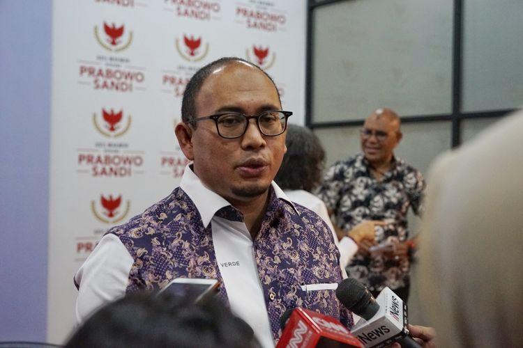 Juru Bicara Badan Pemenangan Nasional pasangan Prabowo Subianto-Sandiaga Uno (BPN) Andre Rosiade di media center Prabowo-Sandiaga, Jalan Sriwijaya I, Jakarta Selatan, Jumat (17/5/2019).