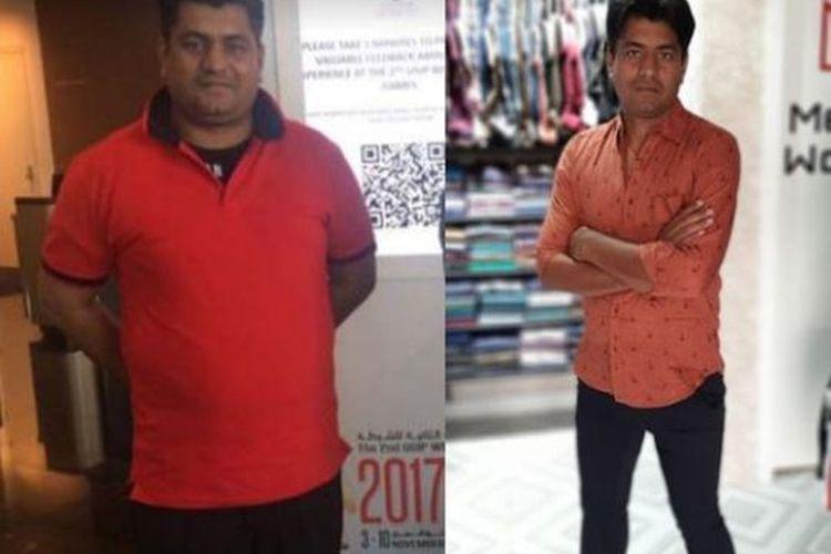 Transformasi berat badan Muhammad Irfan.