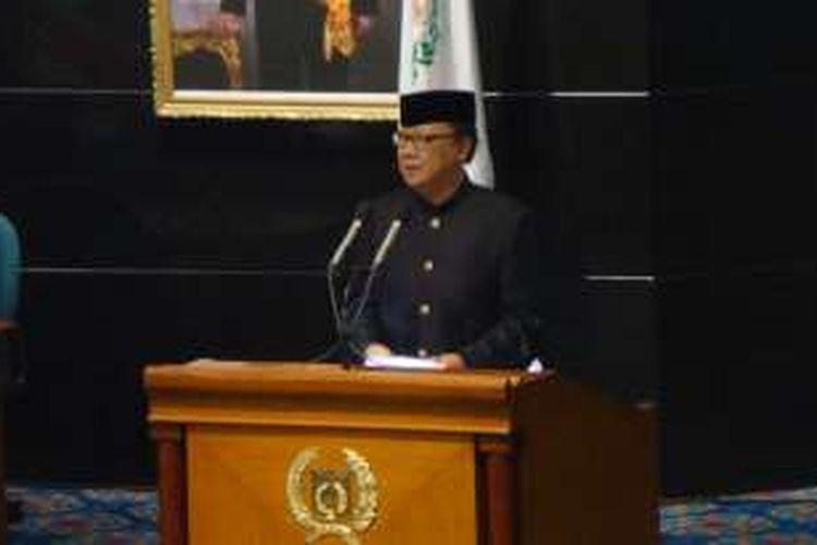 Menteri Dalam Negeri Tjahjo Kumolo hadir dalam rapat paripurna HUT ke-489 DKI Jakarta, Rabu (22/6/2016).