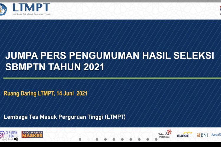 Jumpa pers pengumuman hasil seleksi SBMPTN 2021, Senin (14/6/2021)