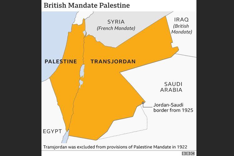 Peta wilayah Palestina sesuai Palestine Mandate 1922.
