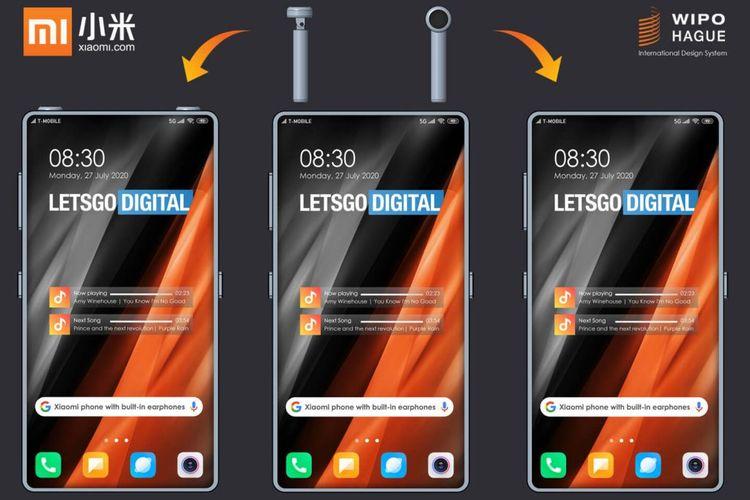 Ilustrasi earphone TWS yang bisa dimasukkan lewat lubang di bingkai atas ponsel Xiaomi.