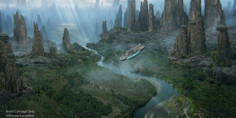 Iustrasi dari rencana Star Wars land.