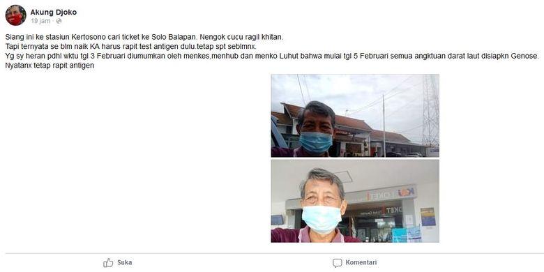 Tangkapan layar unggahan Facebook soal tidak adanya tes GeNose di Stasiun Kertosono, Nganjuk