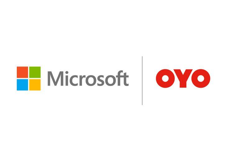 Logo Microsoft dan Oyo.