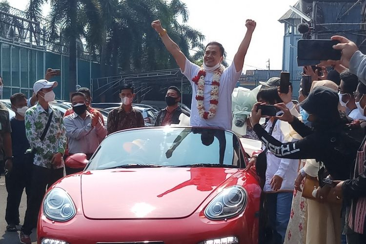 Penyanyi dangdut Saipul Jamil usai bebas dari penjara Lapas Kelas 1 Cipinang, Jakarta Timur, Kamis, (2/9/2021).