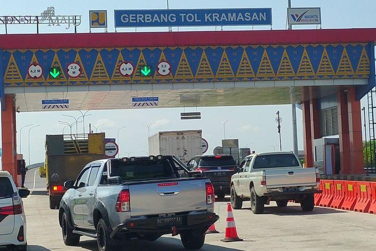 Gerbang exit Keramasan jalan tol Palembang-Lampung lokasi dimana peristiwa pungli terjadi.