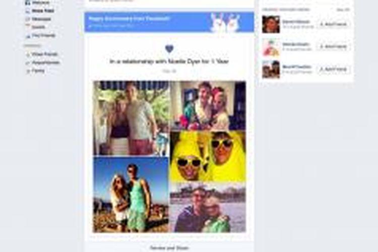 Screenshot tampilan Anniversary Story di Facebook.