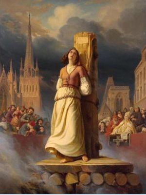 Ilustrasi Joan of Arc saat akan dieksekusi. (Biographyonline)