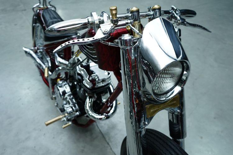 Motor custom Yamaha Byson dengan gaya chopper bobber garapan Wangsa Kencana Garage.
