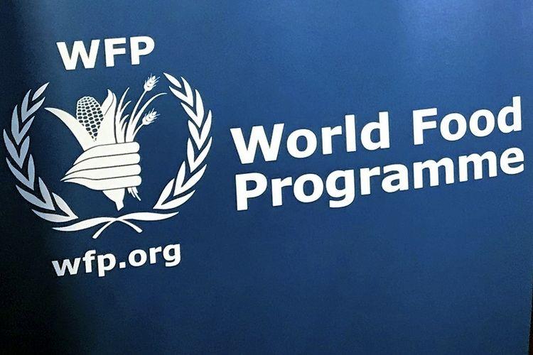 Dalam foto file 6 November 2017 ini, logo Program Pangan Dunia PBB di kantor pusat agensi di New York.