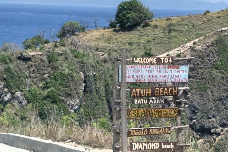 Diamond Beach yang terletak di Pulau Nusa Penida, Bali. Foto diambil pada Minggu (11/11/2018).