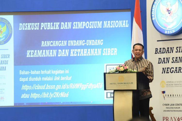 Ketua DPR RI Bambang Soesatyo (Bamsoet) saat menjadi narasumber Diskusi Publik dan Simposium Nasional Rancangan Undang-Undang tentang Keamanan dan Ketahanan Siber (RUU KKS), di Jakarta, Senin (12/08/2019).