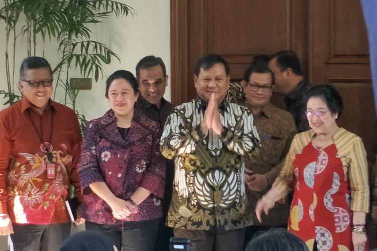 Ketua Umum Partai Gerindra Prabowo Subianto tiba di kediaman Ketua Umum PDI-P Megawati Soekarnoputri, Jalan Teuku Umar, Menteng, Jakarta Pusat, Rabu (24/7/2019).