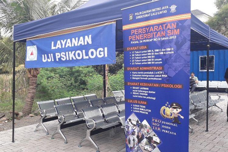 Pos tes psikologi di Satpas SIM Daan Mogot, Jakarta Barat. Foto diambil Kamis (21/6/2018).