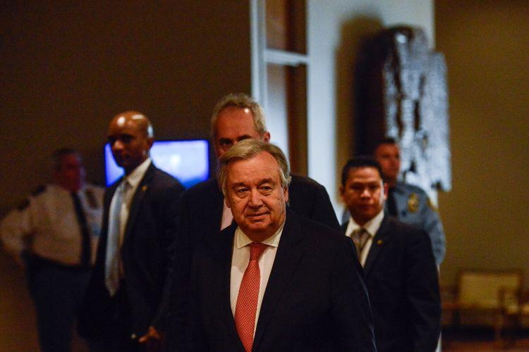Sekretaris Jenderal PBB Antonio Guterres tiba di markas besar PBB di New York, Rabu (6/12/2017).