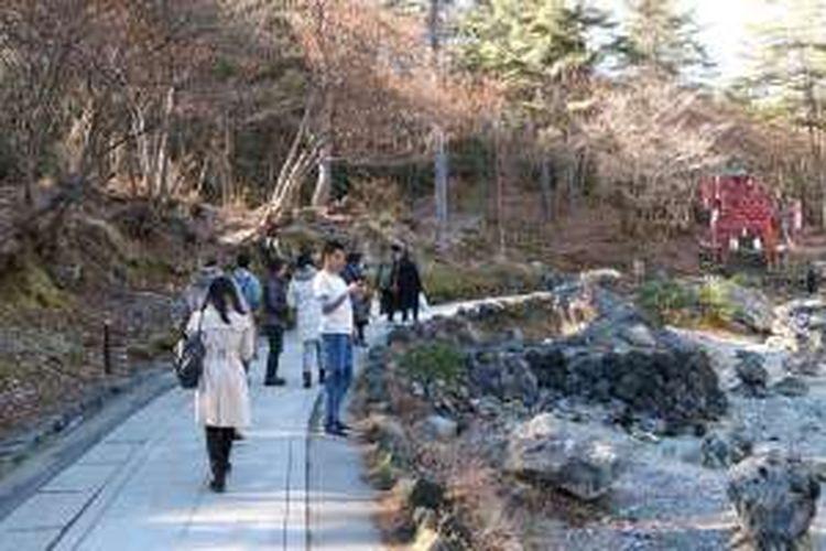 Sai No Kawara Park di Kusatsu Onsen, Prefektur Gunma, Jepang, Jumat (2/12/2016).