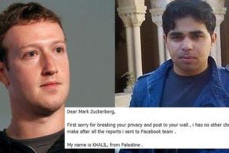 Pendiri Facebook Mark Zuckerberg dan ahli komputer asal Palestina, Khalil Shreateh.