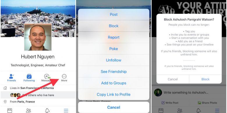Blokir akun Facebook melalui aplikasi mobile
