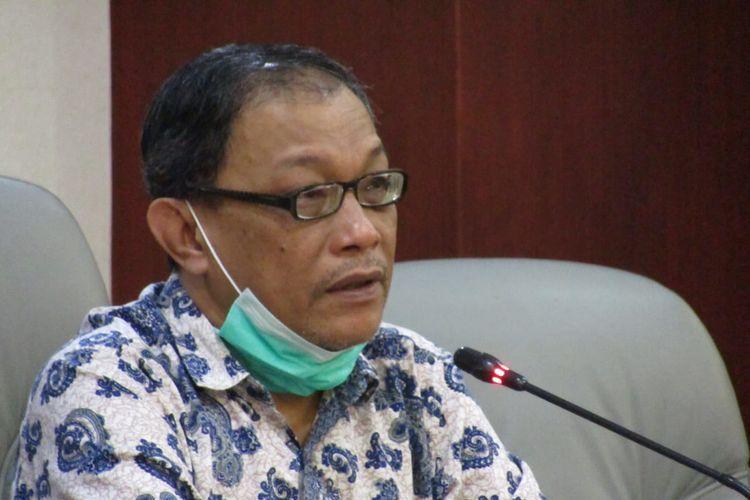 Juru Bicara Rektorat Universitas Lampung (Unila) Kahfie Nazaruddin saat konferensi pers terkait KKN luring di tengah pandemi, Jumat (22/1/2021). Hasil rapat internal rektorat, KKN luring ini ditunda sementara hingga ada keputusan Kemendikbud.