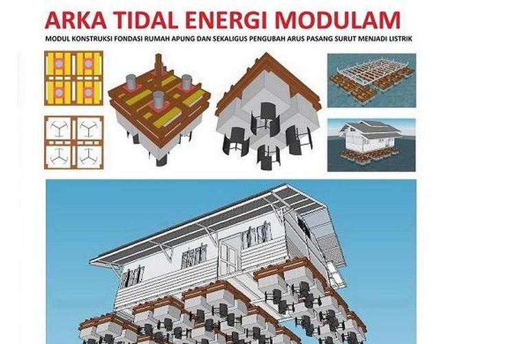 Model pondasi apung dengan turbin milik Wijanraka Arka.
