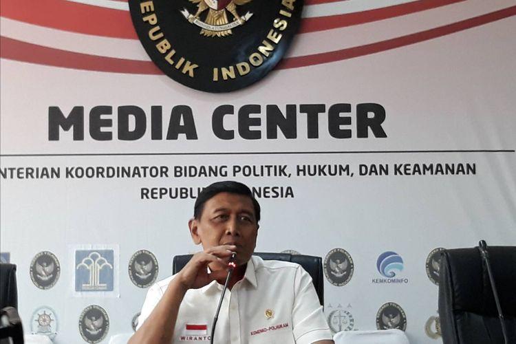 Menteri Koordinator Politik, Hukum dan Keamanan (Menko Polhukam) Wiranto di kantor Kemenko Polhukam, Selasa (24/9/2019).