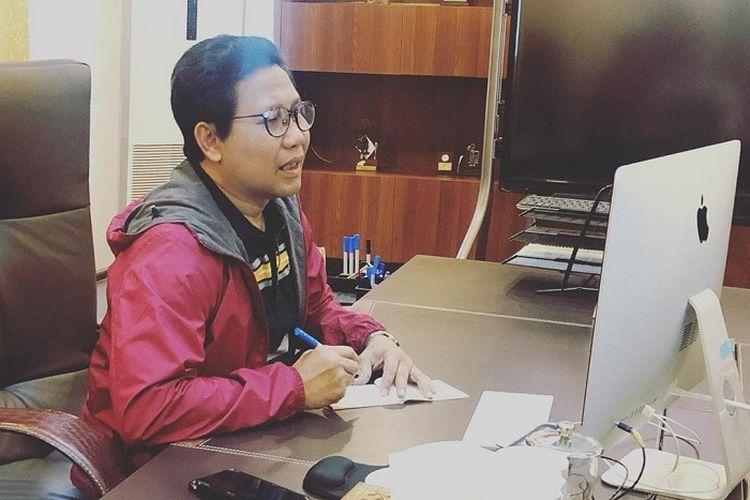 Mendes PDTT Abdul Halim Iskandar, saat melakukan teleconference dengan sejumlah perangkat desa, di Kantor Kalibata, Rabu (25/3/2020).