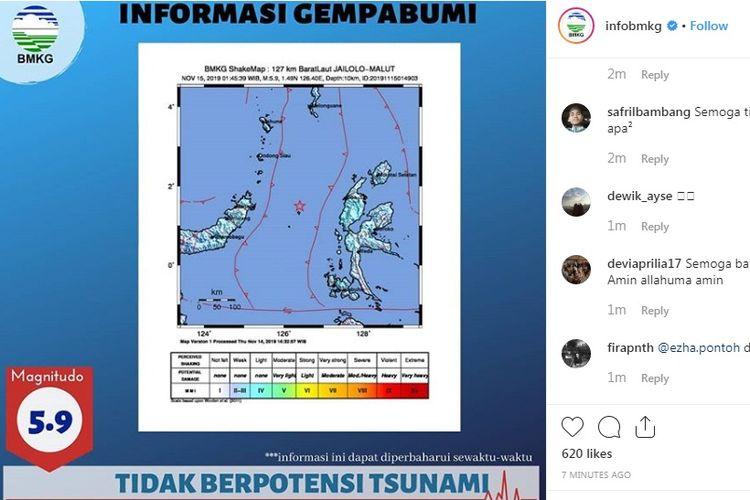 Gempa magnitudo 5,9 mengguncang Manado pada Jumat (15/11/2019) dini hari.