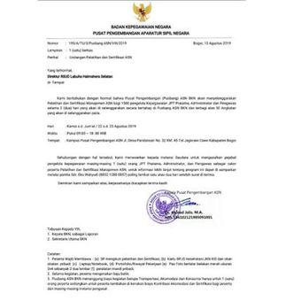 Tangkapan layar terkait surat palsu pelatihan ASN.
