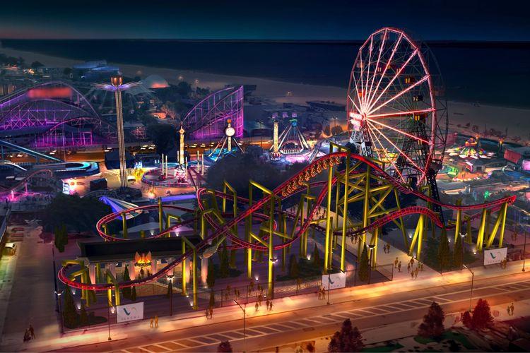 Roller coaster bernama Phoenix di Deno's Wonder Wheel Amusement Park yang memiliki tinggi 68 kaki dengan kecepatan 34 mil/jam, Coney Island, New York, Amerika Serikat.