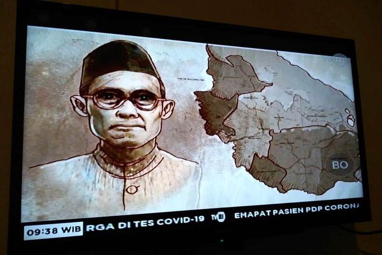 Tangkapan layar tayangan Belajar dari Rumah di TVRI, tokoh Raja Ali Haji.