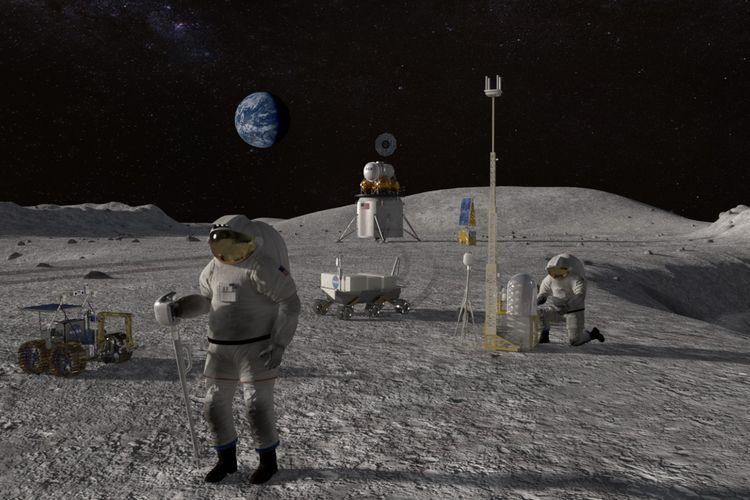 Ilustrasi misi ke Bulan. NASA kembali menemukan bukti keberadaan air di permukaan Bulan. Penemuan air ini menjadi harapan untuk mewujudkan pangkalan bulan.