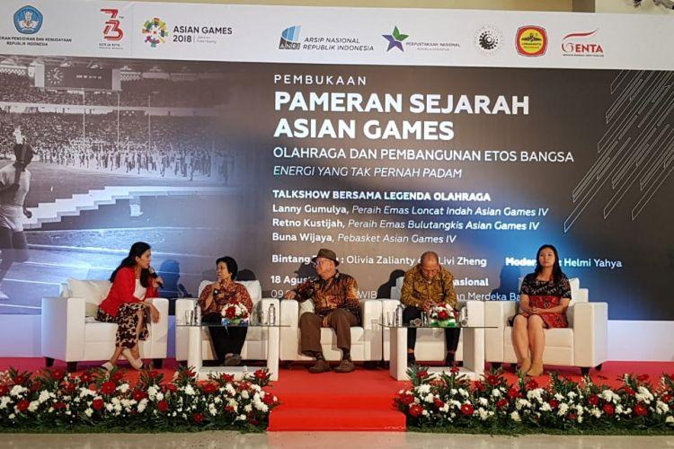 Pameran Sejarah Asian Games dengan tajuk Olahraga dan Pembangunan Etos Kerja (Energi yang Tak Pernah Padam), di Museum Nasional, Jakarta, Sabtu (18/8/2018).