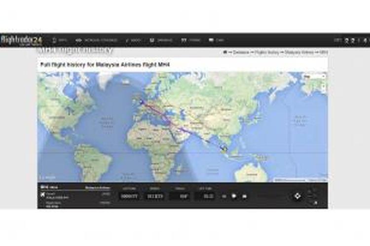 Rute penerbangan Malaysia Airlines berkode penerbangan MH4 rute Kuala Lumpur-London yang biasanya melintas di atas Ukraina, terpantau berubah jalur menjadi melintasi langit Suriah, menyusul jatuhnya pesawat Malaysia Airlines berkode penerbangan MH17 di Ukraina pada Kamis (17/7/2014). Perubahan rute ini diunggah layanan pelacak rute penerbangan berbasis di Swedia, Flightradar24 AB, Senin (21/7/2014), ke akun Twitter-nya.