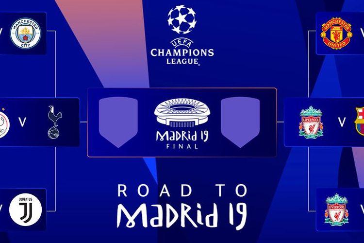 Empat tim terbaik benua Eropa akan saling berjibaku di babak semifinal Liga Champions 2018/2018, Kamis (18/4/2019).