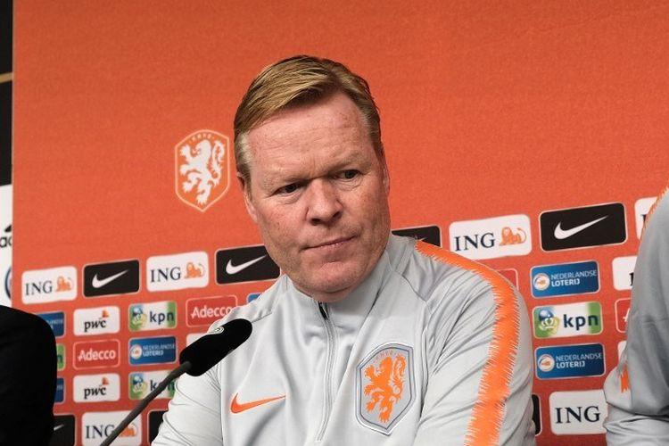 Pelatih kepala Belanda Ronald Koeman menghadiri konferensi pers menjelang pertandingan kualifikasi sepak bola Euro 2020 antara Jerman dan Belanda di Hamburg, Jerman utara, pada 5 September 2019.