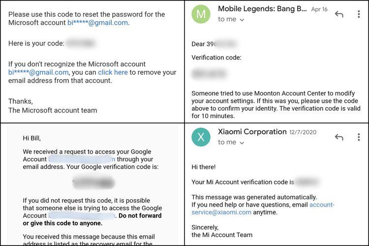 Ilustrasi kode verifikasi yang diterima via e-mail untuk memverifikasi pemilik sebuah akun.