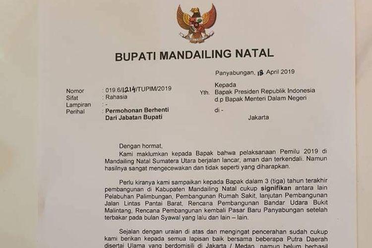 Surat permohonan pengunduran diri Bupati Mandailing Natal Dahlan Nasution