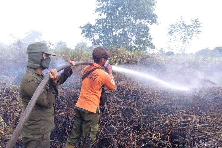 Petugas Manggala Agni Daops Siak berjibaku memadamkan api karhutla di Kecamatan Dayun, Kabupaten Siak, Riau, Kamis (2/1/2020).