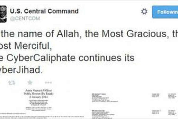 Akun Twitter US Central Command diretas oleh simpatisan ISIS